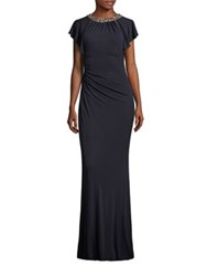 David Meister Beaded Ruched Jersey Gown Navy