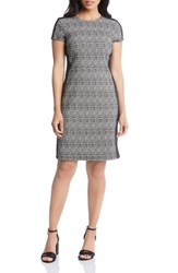 Karen Kane Euro Print Stretch Knit Dress Black W White