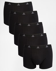 Asos Trunks 5 Pack In Black With Triangle Design Black