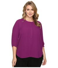 Nydj Plus Size Solid 3 4 Sleeve Pleat Back Dark Currant Women's Long Sleeve Button Up Brown