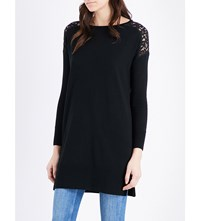 The White Company Lace Insert Wool Tunic Black