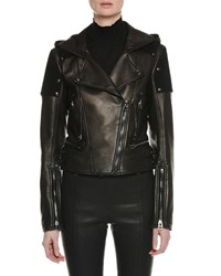 Tom Ford Zip Front Leather And Suede Hooded Biker Jacket Black