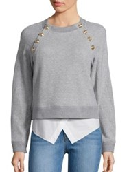 Derek Lam Long Sleeve Cropped Sweatshirt Grey