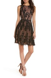 Adelyn Rae Trina Lace Fit And Flare Dress Black Nude