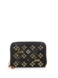 Christian Louboutin Panettone Logo Detail Studded Leather Coin Purse Black