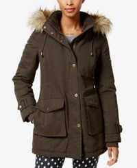 Rachel Roy Faux Fur Trim Hooded Parka Only At Macy's Dark Green