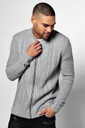 Boohoo Stitch Knitted Bomber Grey