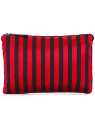 Ann Demeulemeester Blanche Striped Flat Clutch Red
