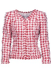 Oscar De La Renta Fringed Houndstooth Tweed Blazer Red
