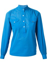 Yves Saint Laurent Vintage Mandarin Collar Blouse Blue