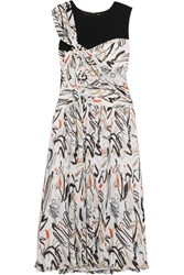 Adeam Draped Printed Plisse Crepe Dress Off White