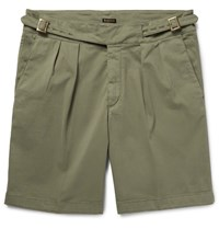 Rubinacci Manny Pleated Stretch Cotton Twill Shorts Army Green