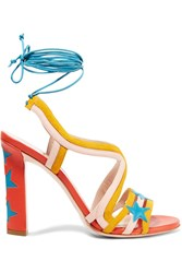 Paula Cademartori Starry Lace Up Suede And Leather Sandals Orange