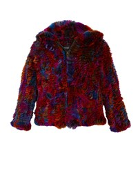 Adrienne Landau Knitted Multicolored Hooded Fur Jacket