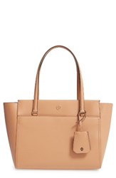 Tory Burch Small Parker Leather Tote Beige Cardamom Royal Navy