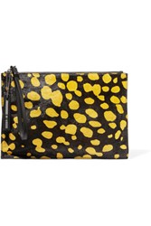 Mcq By Alexander Mcqueen Kicks Printed Calf Hair Clutch Dark Brown