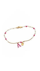 Chan Luu Beaded Charm Anklet Neon Pink Mix