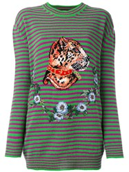 Gucci Striped Leopard Head Jumper Purple