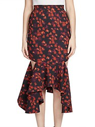 Givenchy Ruffled Cutout Midi Skirt Red Flower