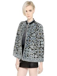 Talitha Floral Embroidered Silk Crepe Cape