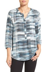 Nydj Petite Women's Henley Blouse Lady Luck Houndstooth Blue