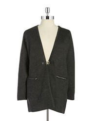 Calvin Klein Plus Knit Buckle Cardigan Heather Charcoal