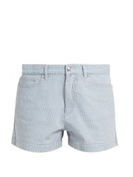 A.P.C. Striped Stretch Denim Shorts Indigo