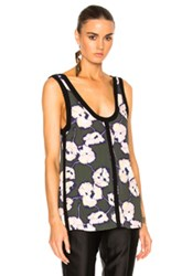Marni Printed Tank In Floral Green Floral Green