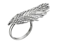 Rebecca Minkoff Feather Knuckle Duster Ring Imitation Rhodium Crystal Lab Ring Black