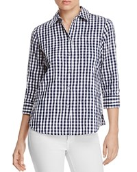 Foxcroft Sue Crinkled Gingham Button Down Shirt Navy