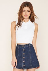 Forever 21 Collared Crop Top