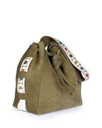 Zeus And Dione Syros Embroidered Suede Tote Bag Khaki