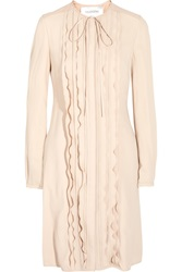 Valentino Faux Leather Trimmed Crepe Dress Pink