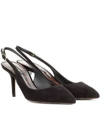 Dolce And Gabbana Suede Slingback Pumps Black
