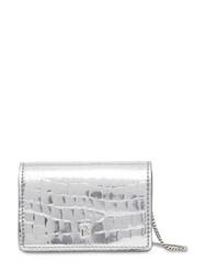 Burberry Jessie Coco Print Leather Chain Wallet Silver