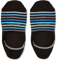 Marcoliani Invisible Touch Striped Pima Cotton Blend No Show Socks Black