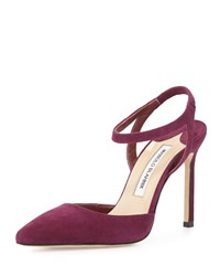 Minis Suede Ankle Wrap Pointed Toe Pump Cranberry Manolo Blahnik Red Suede
