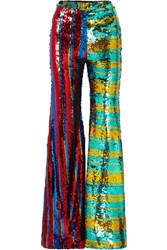 Halpern Striped Sequined Tulle Wide Leg Pants Turquoise