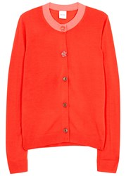 Paul Smith Coral Wool And Silk Blend Cardigan Red