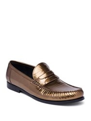 Dolce And Gabbana Genova Patent Leather Loafers Dark Gold