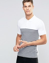 Asos Muscle Polo Shirt With Breton Stripe In White Navy White