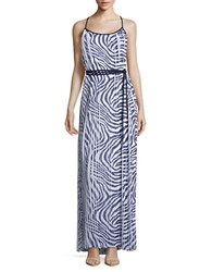 Michael Michael Kors Plains Zebra Print Pleated Maxi Dress True Navy