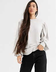 Weekday Charlee Balloon Sleeve Sweatshirt In Off White