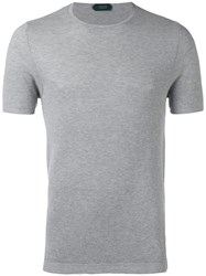 Zanone Knitted T Shirt Men Cotton 46 Grey