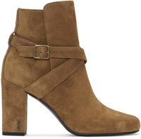 Saint Laurent Tan Suede Cross Strap Babies Boots