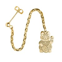 Cartergore Gold Lucky Cat Single Long Drop Earring