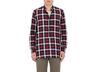 Barena Venezia Men's Checked Cotton Popover Shirt Navy Red White Navy Red White