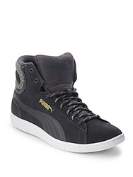 Puma Round Toe Lace Up High Top Sneakers Grey