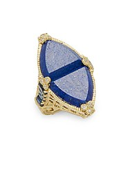 Judith Ripka Diamond Lapis And 18K Yellow Gold Ring Blue Gold