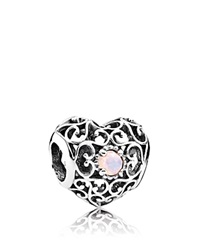 Pandora Design Pandora Charm Sterling Silver And Crystal October Signature Heart Opal